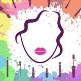 Cara de la muchacha hermosa Icono de Fashion del artista de maquillaje Componga los elementos Plantilla del logotipo Cara de la m Foto de archivo libre de regalías