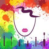 Cara de la muchacha hermosa Plantilla del logotipo Artista de maquillaje Fashion ic Fotografía de archivo libre de regalías