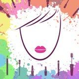 Cara de la muchacha hermosa Plantilla del logotipo Artista de maquillaje Fashion ic Fotografía de archivo