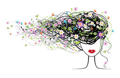Cara de la muchacha, peinado floral ilustración del vector