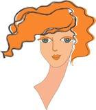 Cara de la muchacha roja. ilustración del vector
