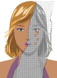 Cara de la mujer bastante joven que se arruga stock de ilustración
