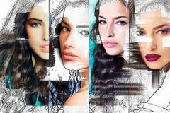 Cara de la mujer, collage de la belleza Imagen de archivo
