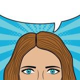 Cara de la mujer con la burbuja en blanco del discurso para el texto Ojos y pelo de la muchacha Diseño de página del cómic Bosque stock de ilustración
