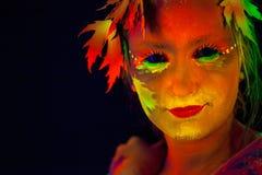 Cara de la mujer con el bodyart Foto de archivo libre de regalías
