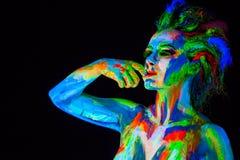 Cara de la mujer con el bodyart Imagenes de archivo