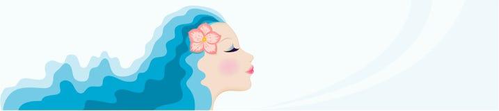 Cara de la mujer con el pelo azul Imagen de archivo
