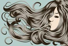 Cara de la mujer con el pelo detallado Imágenes de archivo libres de regalías