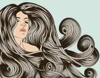 Cara de la mujer con el pelo detallado libre illustration