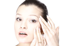 Cara de la mujer con las arrugas Foto de archivo libre de regalías
