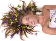 cara de la mujer con las flores imagen de archivo libre de regalías