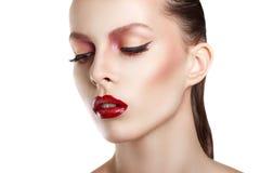 Cara de la mujer de la belleza del retrato Girl modelo hermoso con la piel limpia fresca perfecta Mujer del retrato de la juventu fotos de archivo libres de regalías