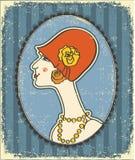Cara de la mujer de la vendimia en sombrero de la manera. Retro Imágenes de archivo libres de regalías