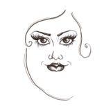 Cara de la mujer del dibujo de lápiz con las líneas negras bosquejo, ejemplo Foto de archivo libre de regalías