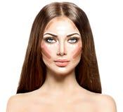 Cara de la mujer del maquillaje Fotos de archivo