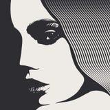 Cara de la mujer, estilo grabado Imagen de archivo