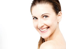 Cara de la mujer hermosa con la piel fresca limpia imágenes de archivo libres de regalías