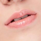 Cara de la mujer joven de la belleza. Zona de los labios Imagen de archivo