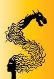 Cara de la mujer y dragón oriental ilustración del vector