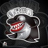 Cara de la orca en perfil con el logotipo descubierto de los dientes para cualquier equipo de deporte stock de ilustración