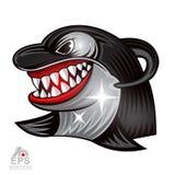 Cara de la orca en perfil con el logotipo descubierto de los dientes para cualquier equipo de deporte aislado stock de ilustración
