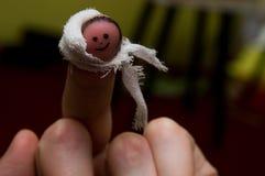 Cara de la sonrisa en el finger, con el vendaje imagen de archivo libre de regalías