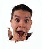 Cara de la sorpresa que salta imagenes de archivo