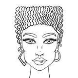 Cara de las muchachas del garabato Retrato para mujer para el libro de colorear adulto Ilustración del vector libre illustration