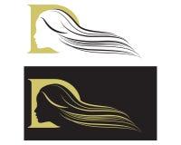 cara de las mujeres del icono con el monograma largo del pelo D stock de ilustración