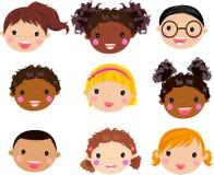 Cara de los niños de la historieta Imagenes de archivo