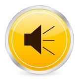 Cara de los sonidos icono amarillo del círculo Foto de archivo