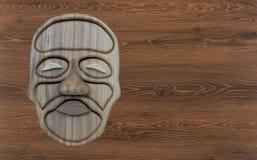 Cara de madeira feita do carvalho natural em um fundo de madeira fotografia de stock royalty free