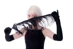 Cara de ocultación de la mujer encantadora de la pluma negra Imagen de archivo