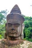 Cara de piedra del Khmer de las estatuas Fotos de archivo