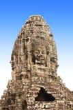 Cara de piedra gigante en el templo de Prasat Bayon, complejo de Angkor Wat, leva Imagen de archivo
