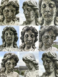 Cara de piedra principal femenina angelical de la estatua Fotografía de archivo libre de regalías