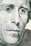 Cara de presidente Jackson en la cuenta de dólar veinte Imagenes de archivo