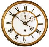 Cara de reloj antigua aislada Imagen de archivo libre de regalías