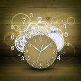 Cara de reloj con las figuras y los engranajes blancos Fotografía de archivo libre de regalías