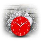Cara de reloj con las figuras y los engranajes blancos Imágenes de archivo libres de regalías