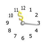 Cara de reloj con las manos del símbolo de la muestra del dinero de USD, representación 3D Foto de archivo libre de regalías