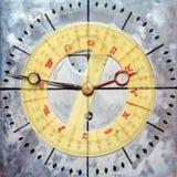 Cara de reloj del vintage con el dial de la astrología/de la astronomía imagenes de archivo