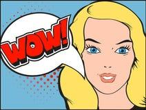 Cara de sorriso da mulher com boca aberta Bolha do wow e ilustração royalty free