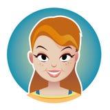 Cara de sorriso do vetor da mulher da beleza no círculo Foto de Stock