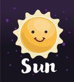 Cara de sorriso engraçada de Sun ilustração royalty free