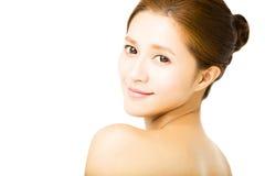 Cara de sorriso nova bonita da mulher do close up Fotografia de Stock