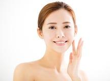 Cara de sorriso nova da mulher do close up Fotos de Stock