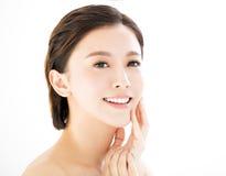 Cara de sorriso nova da mulher do close up Imagens de Stock