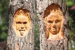 A cara de um homem e de uma mulher cinzelou na árvore com backgrou natural fotografia de stock