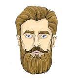 Cara de um homem farpado Vector a ilustração do retrato, isolada no fundo branco ilustração stock
